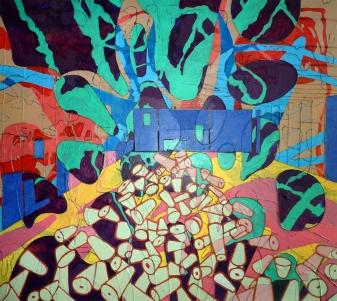 Broadford Works I. 136cm X 120cm, mixed media on canvas, Katarina Chomova, 2014