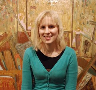 Kat in her studio. Dec 2012